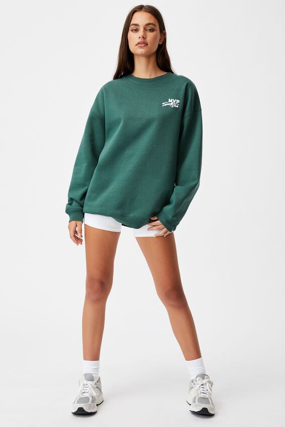 Oversized Graphic Crew, TREKKING GREEN/MVP SPORTS CLUB