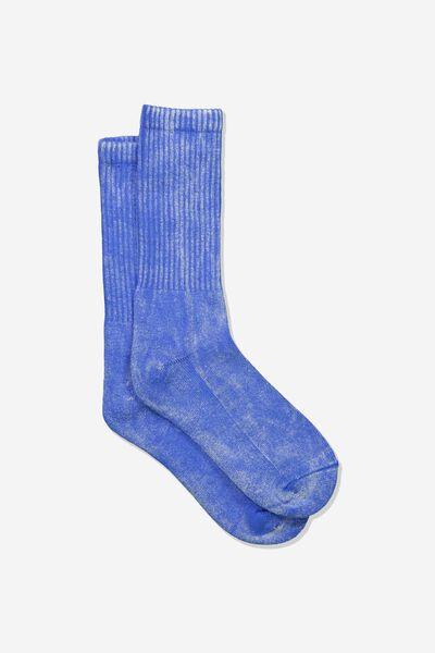 Retro Ribbed Socks, WASHED BLUE