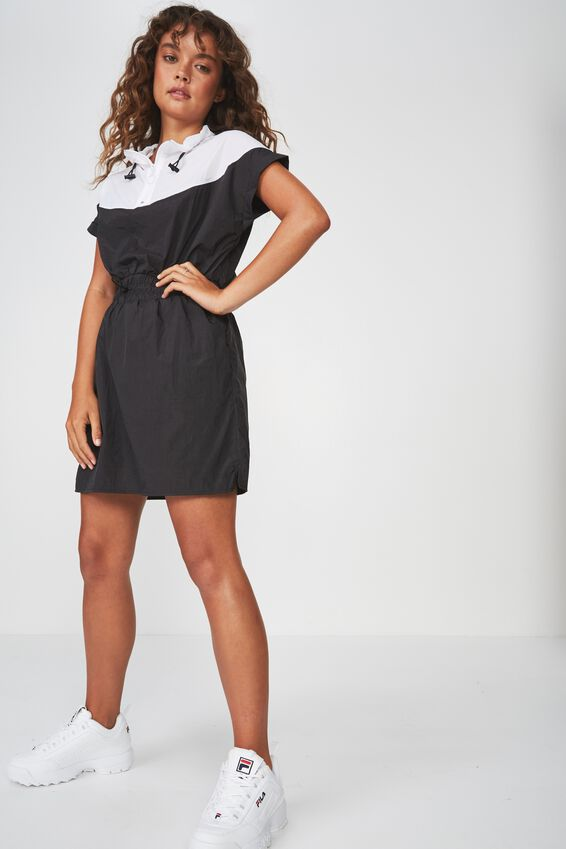 Zip Neck Dress, BLACK / WHITE