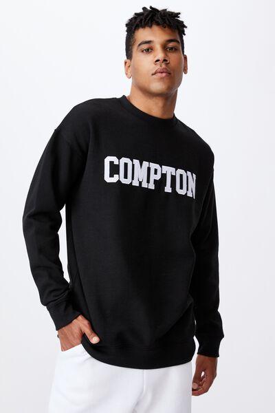 Oversized Graphic Crew, BLACK/COMPTON