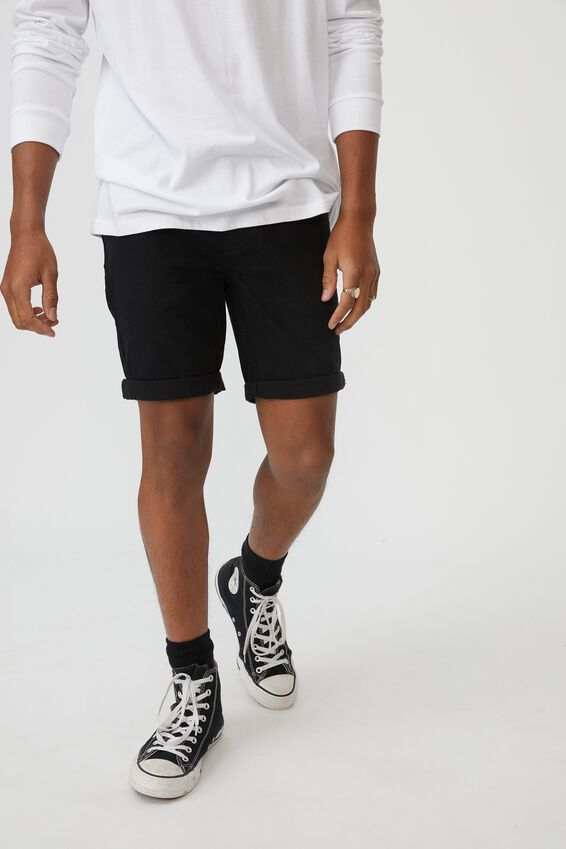 Slim Cut Denim Short, TRUE BLACK