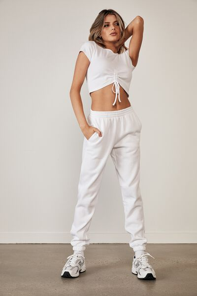 Ruched Front Rib Tee, WHITE