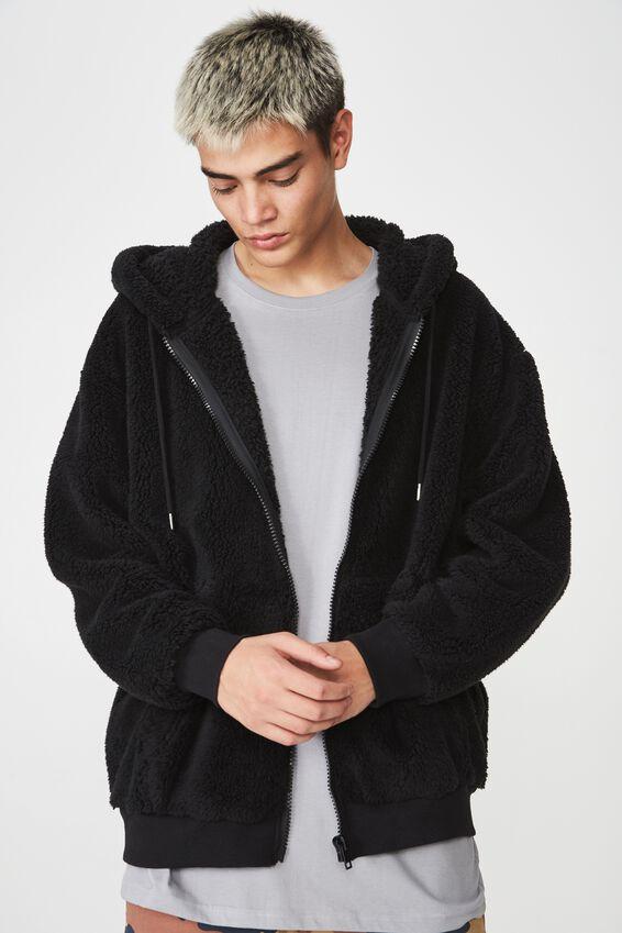 Soft Teddy Zip Through Jacket, BLACK