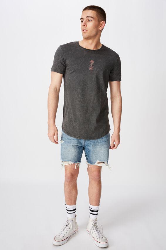Curved Graphic T Shirt, WASHED ASPHALT/FLOWERLINE