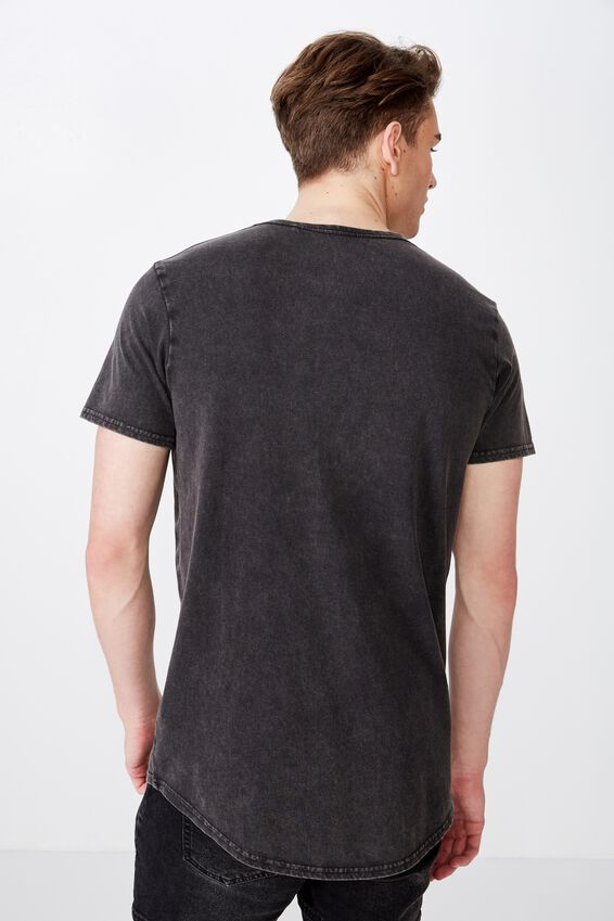 Curved Graphic T Shirt, WASHED BLACK/ABANDON