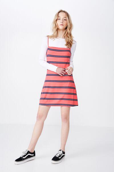 Stripe Ponte Dress, KYLA STRIPE SUNSET CORAL