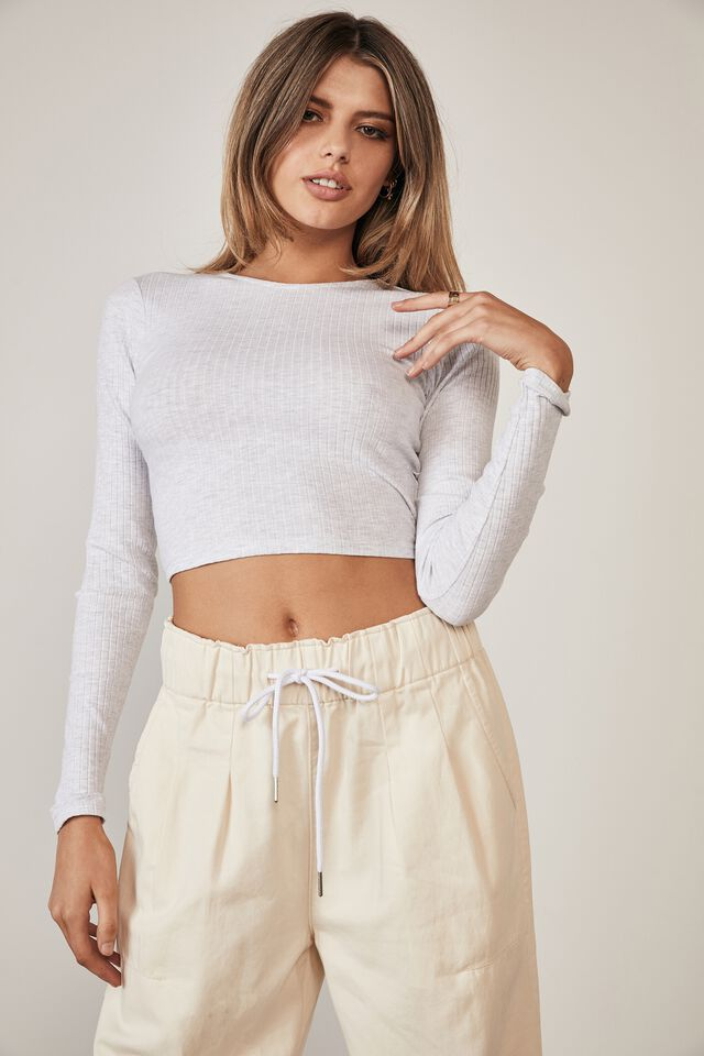 Long Sleeve Back Detail Top, SILVER MARLE