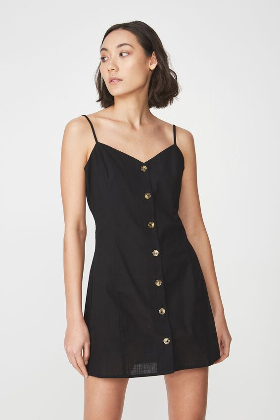 Woven Button Through Dress, BLACK