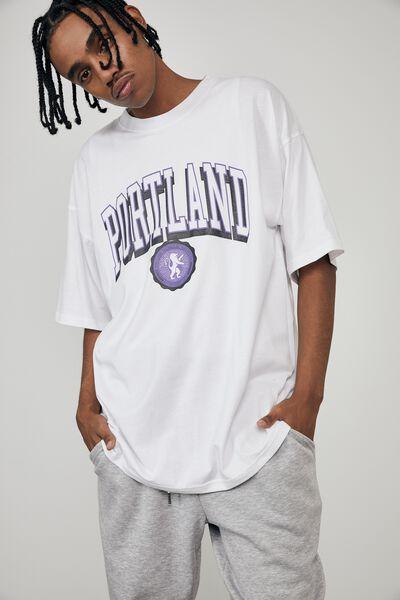 Oversized Graphic T Shirt, WHITE/PORTLAND