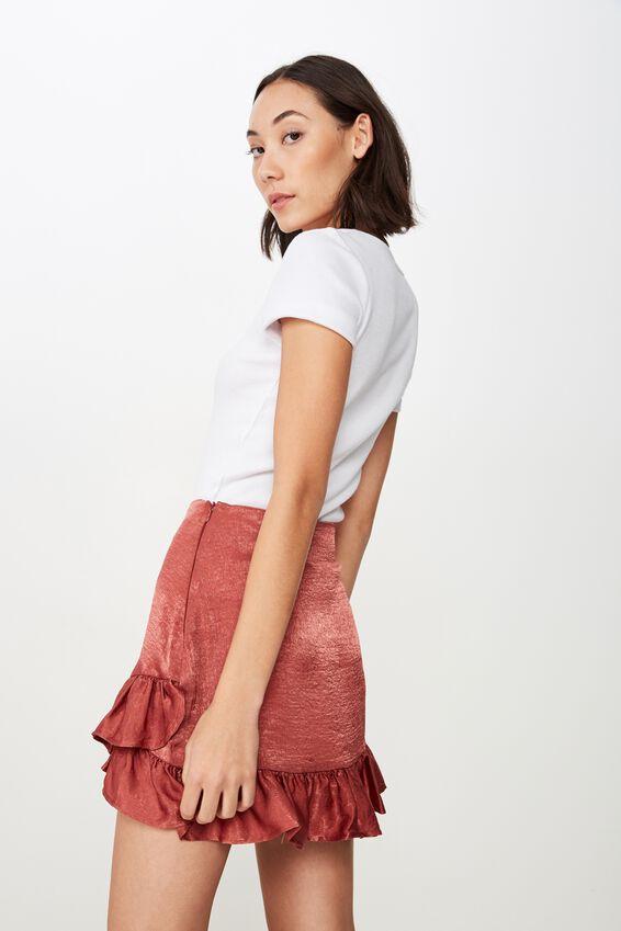Satin Ruffle Skirt, DARK ROSE