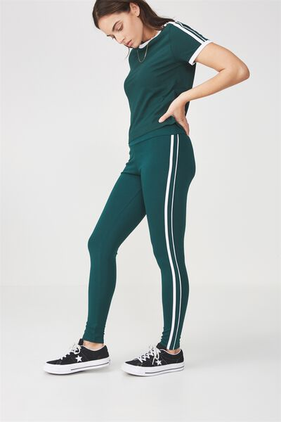 Stripe Legging, BOTANICAL GREEN/WHITE STRIPE