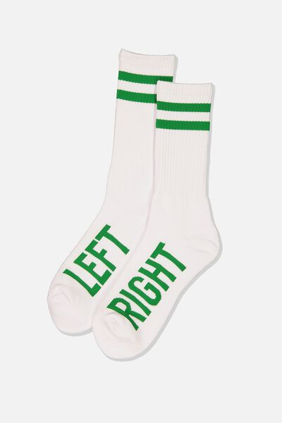 Retro Ribbed Socks, LEFT RIGHT_WHITE