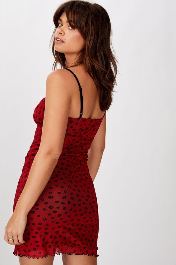 Ruched Front Mesh Mini Dress, LOLA DITSY RED BASE