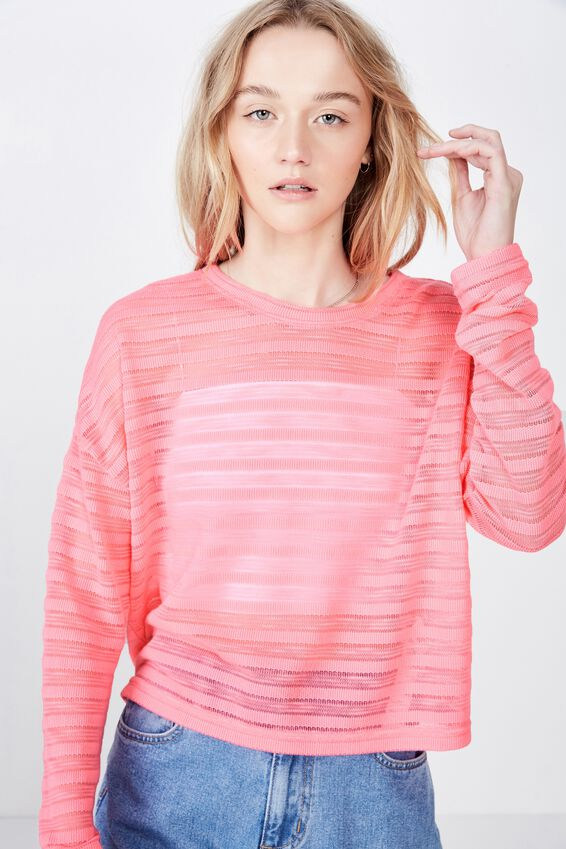Slouchy Textured  Sweater, HOT PINK