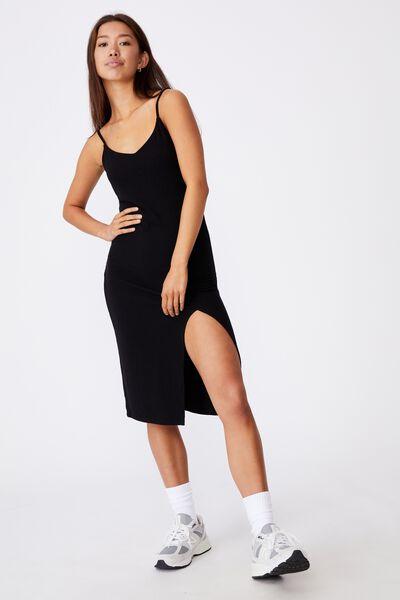 Strappy Side Split Rib Midi Dress, BLACK