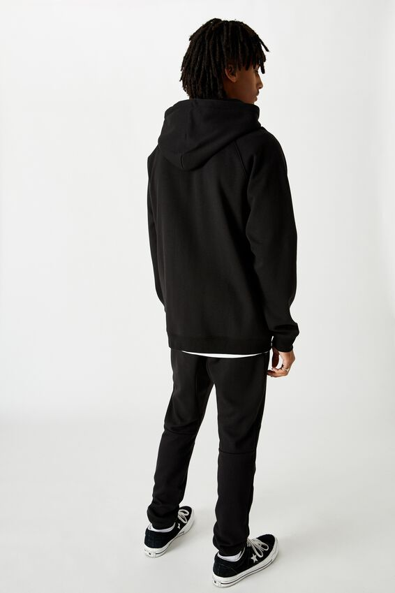 Tech Zip Through Hoodie, BLACK