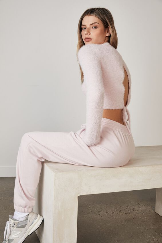 Fluffy Knit Tie Back Top, LILAC SNOW
