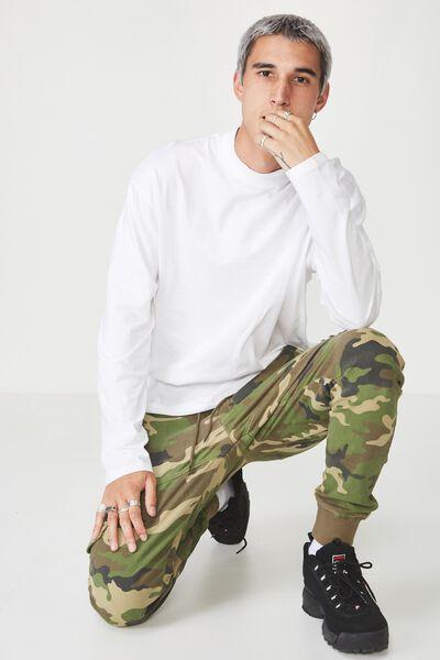 Long Sleeve Mock Neck T Shirt, WHITE
