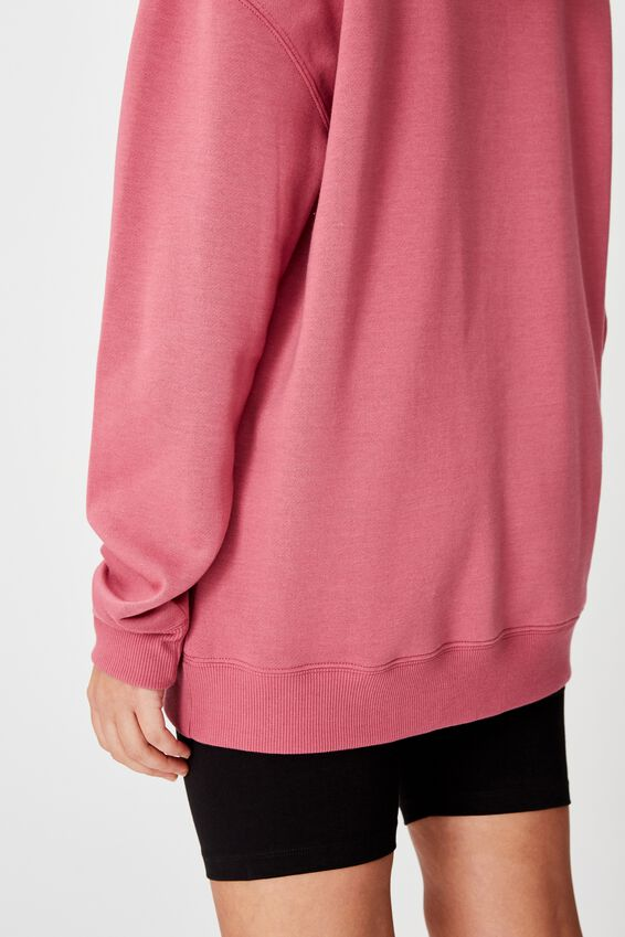 Oversized Crew Neck Sweater, RUBY PLUM