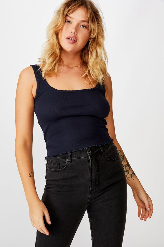 Picot Trim Detail Tank, FRENCH NAVY