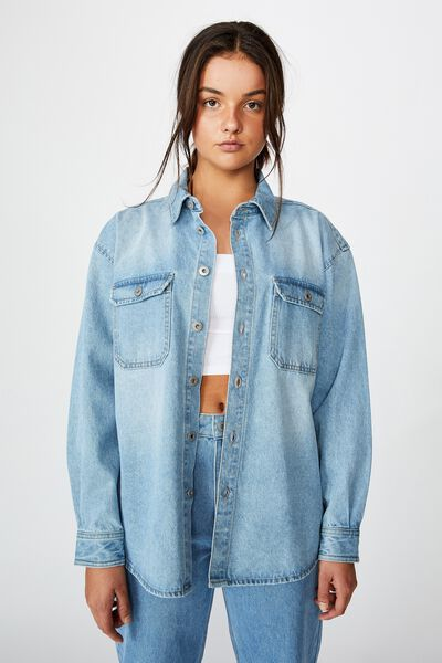 Denim Shacket, 90'S BLUE