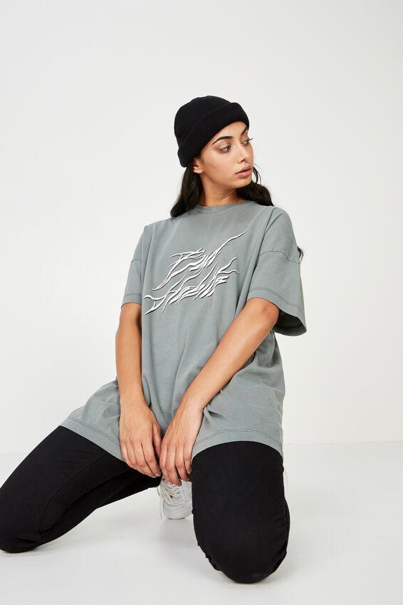 Washed Graphic T Shirt, GUNMETAL_BAD HABITS