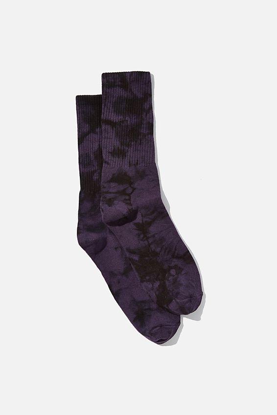 Retro Ribbed Socks, PURPLE BLACK TIE DYE