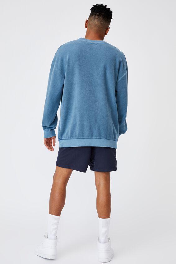 Reverse Fleece Crew, WASHED CHALK BLUE