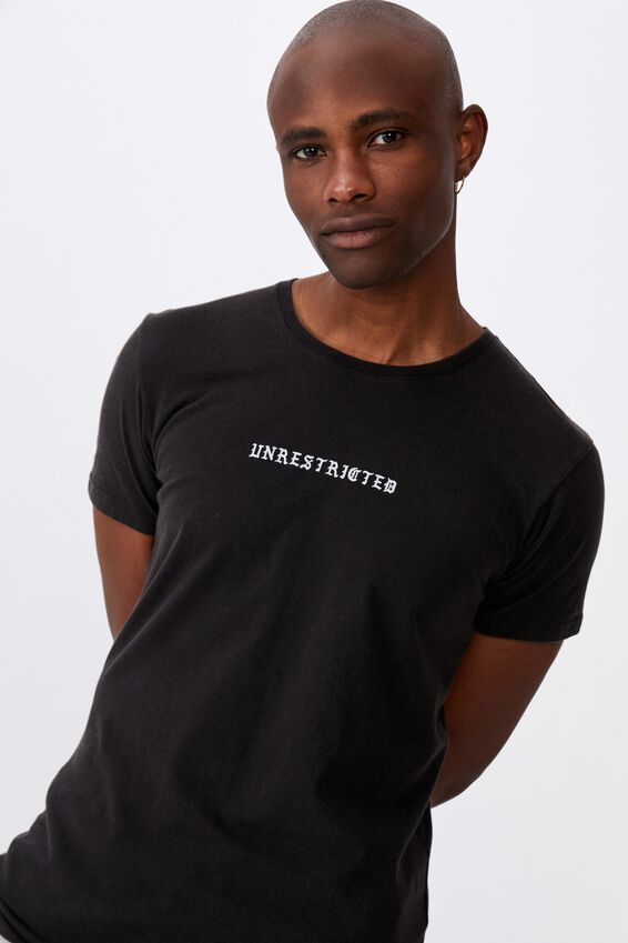 Curved Graphic T Shirt, WASHED BLACK/UNRESTRICTED