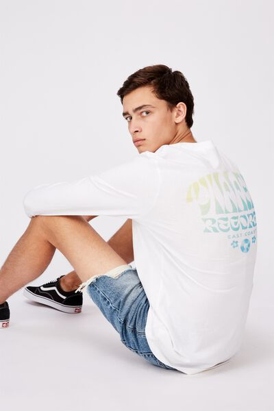 Slim Long Sleeve Graphic T Shirt, WHITE/VILLAIN RECORDS