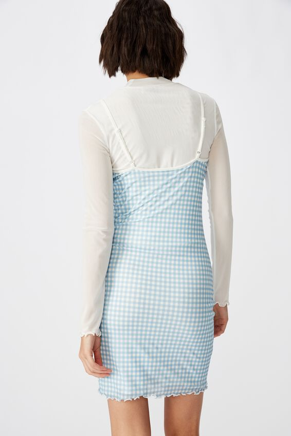 Mesh Mini Dress, ANGEL FALLS_LINDA GINGHAM