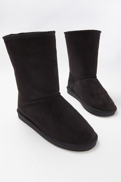 Fluffy Lounge Boot, BLACK