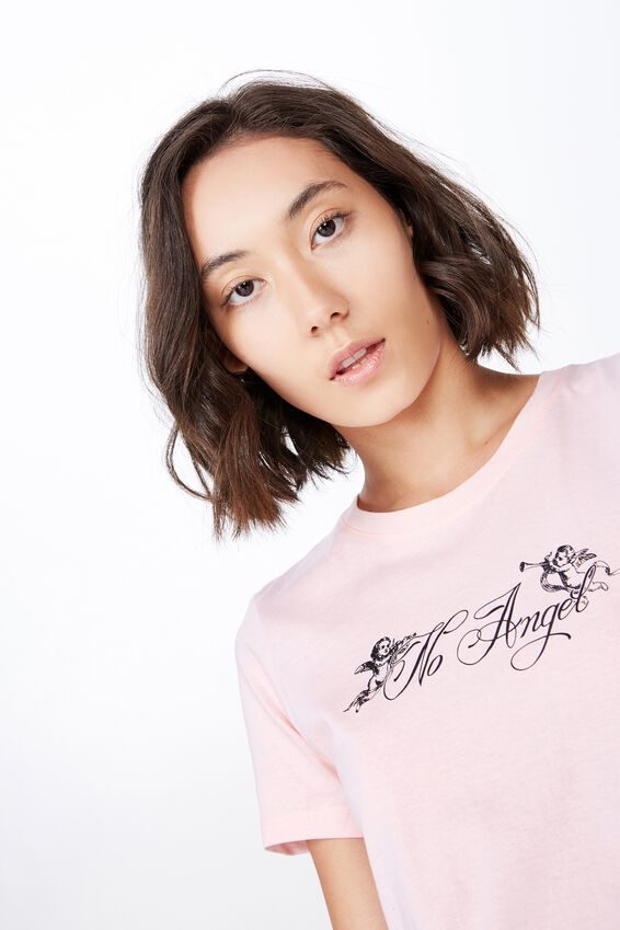 Basic Graphic T Shirt, CHERRY BLOSSOM/NO ANGEL