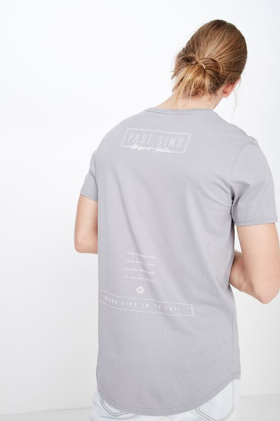 Curved Graphic T Shirt, WASHED STEEL/PAST SINS