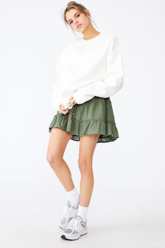 Textured Tiered Skirt, KHAKI