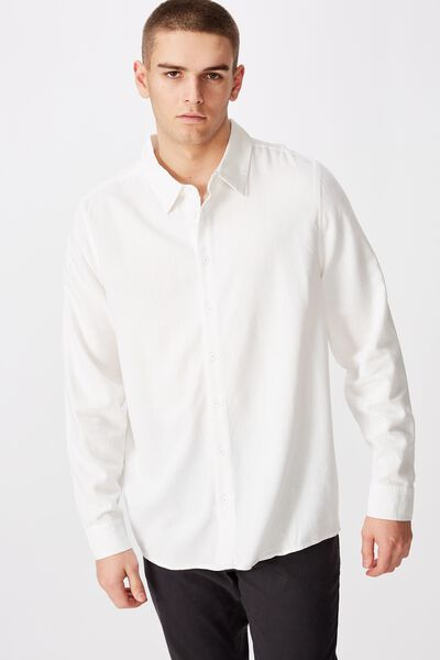 Long Sleeve Linen Blend Shirt, WHITE