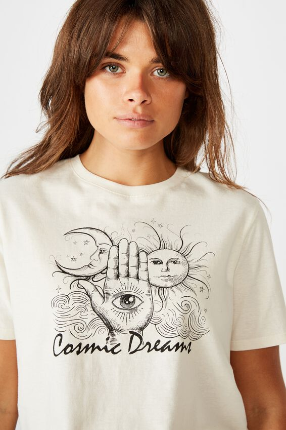 Short Sleeve Raw Edge Crop T Shirt, WASHED IVORY/COSMIC DREAMS