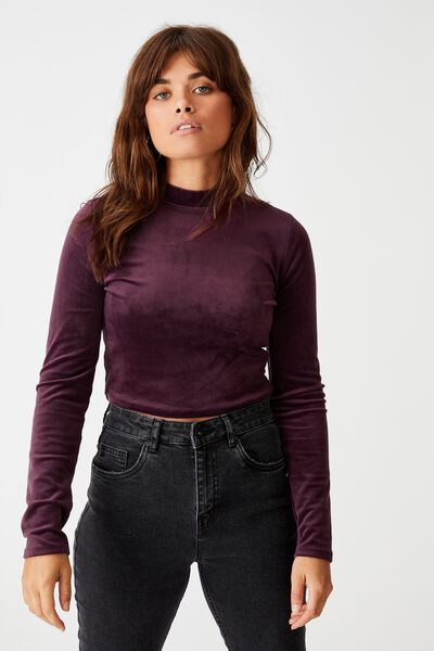 Ls Velvet Top, BURGUNDY