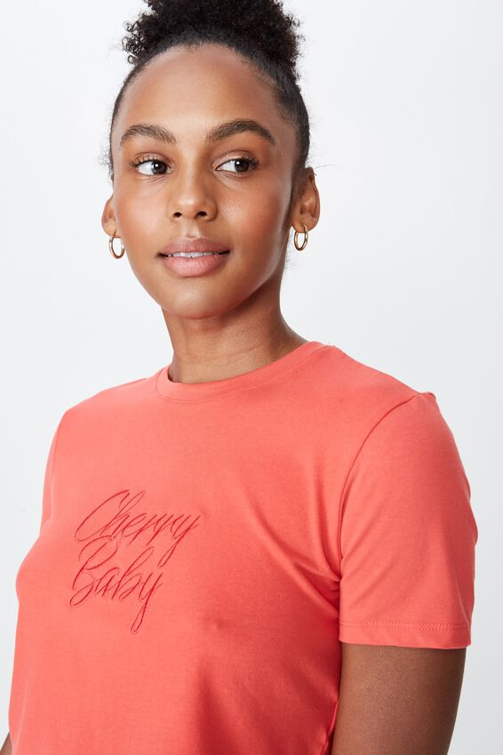 Fitted Graphic T Shirt, MELON PEACH/CHERRY BABY