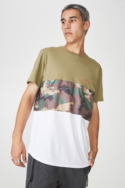 Camo Spliced T Shirt, KHAKI/CAMO SPLICE