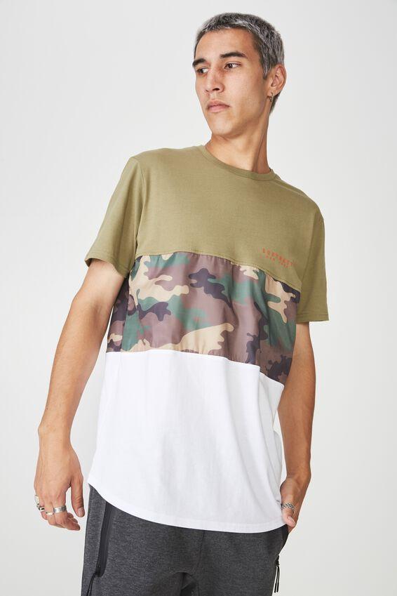 Camo Spliced T Shirt, KHAKI/CAMO SPLICE