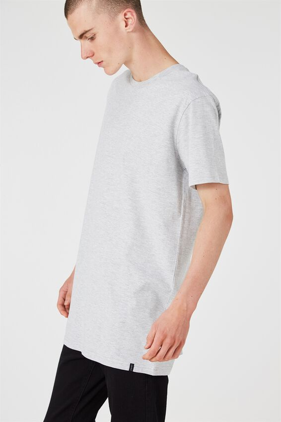 Longline T Shirt., LIGHT GREY MARLE