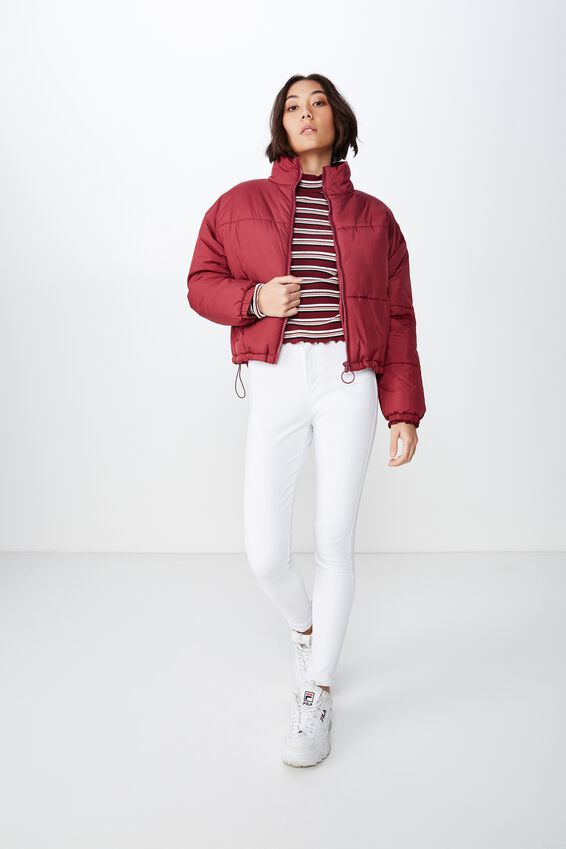Fashion Puffer Jacket, WINE