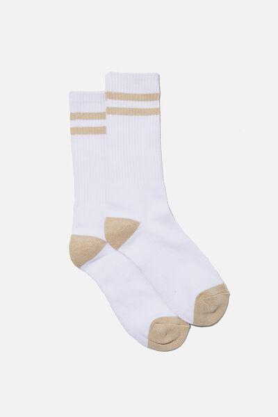 Retro Ribbed Socks, WHITE/BEIGE STRIPES