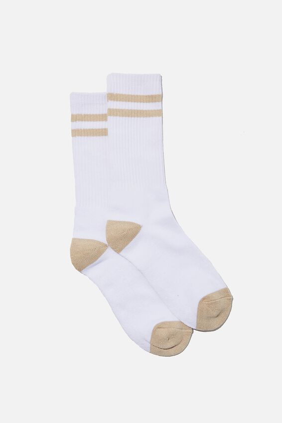 Retro Ribbed Socks, WHITE/BEIGE STRIPES