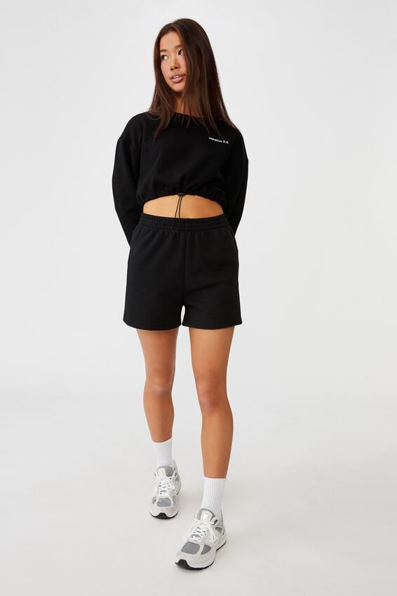 Elastic Hem Crew Fleece, BLACK/VERSION 2.0