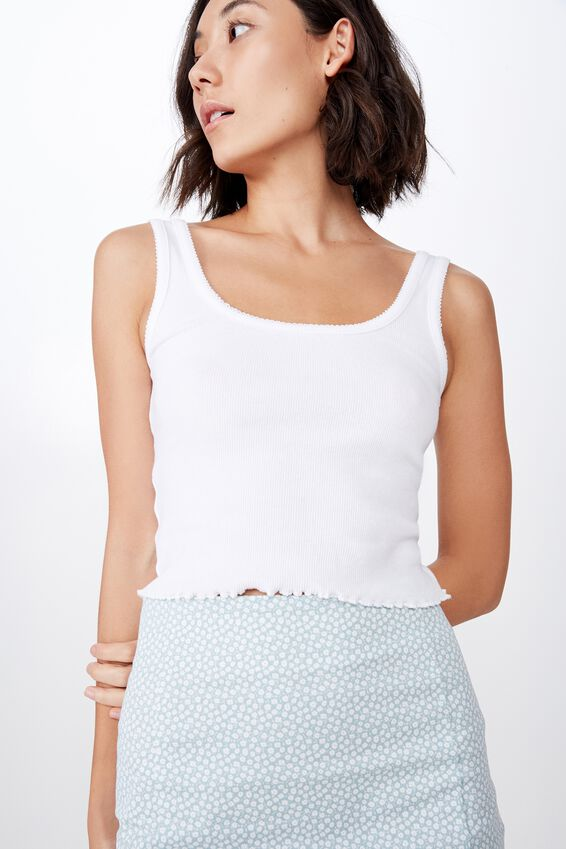 Picot Trim Detail Tank, WHITE