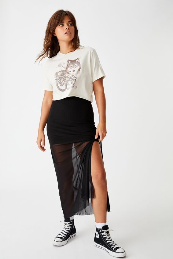 Short Sleeve Raw Edge Crop Graphic T Shirt, WASHED IVORY OUTSIDERS