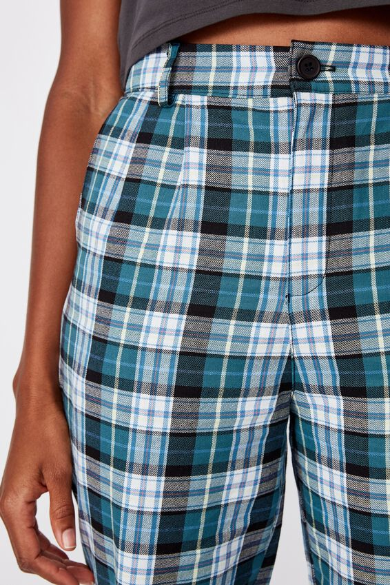 Tapered Leg Check Pant, SUSIE GREEN CHECK