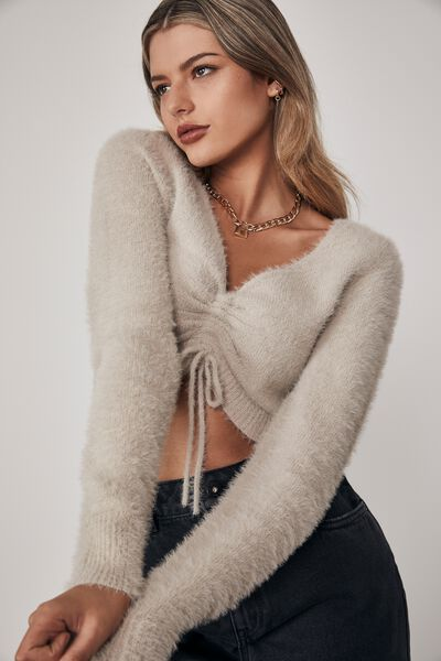 Fluffy Knit Pull Front Top, PUMICE STONE